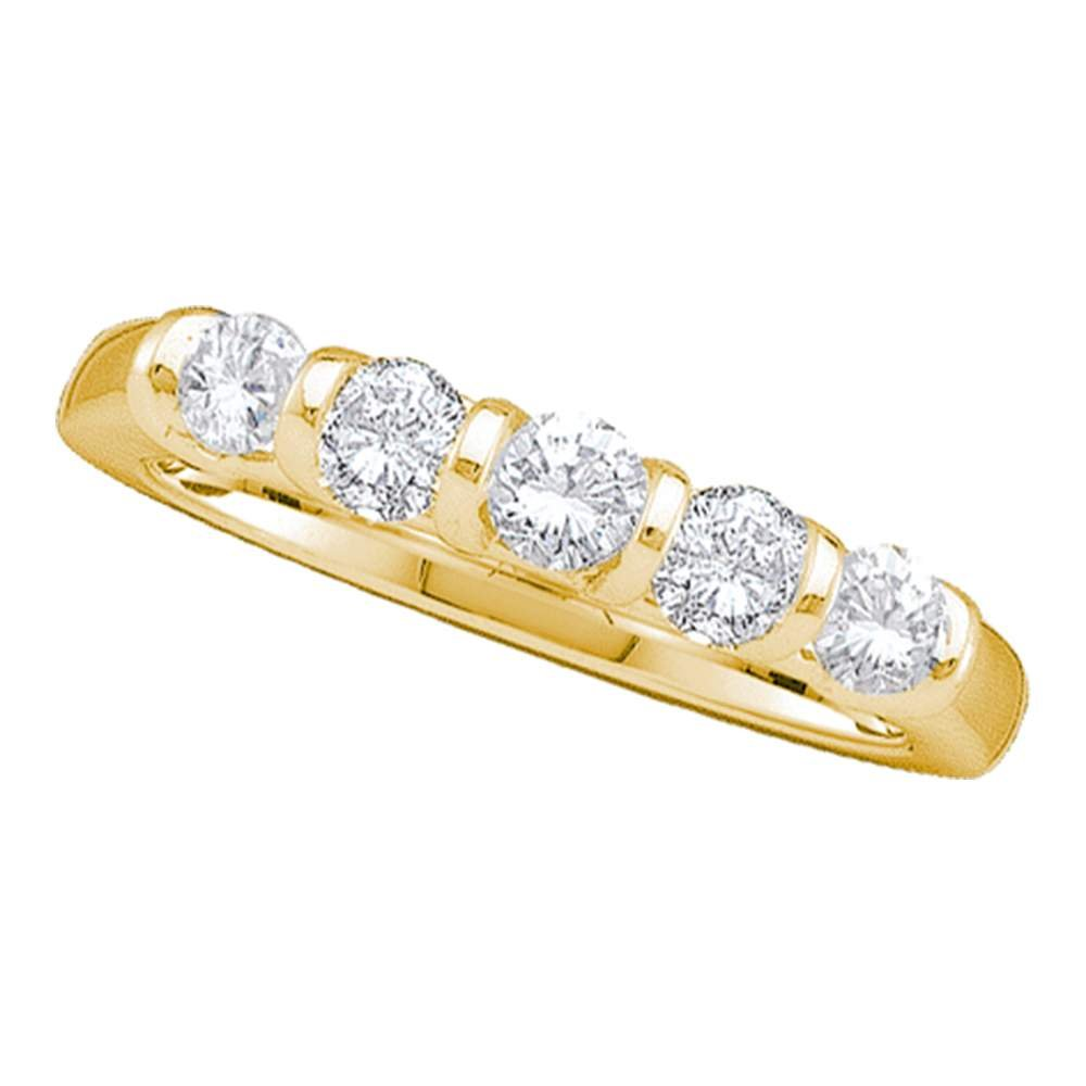 14k Yellow Gold Five Stone Diamond Wedding Band Anniversary Ring Bridal Style Round Channel Set 1.00 ctw Size 8.5