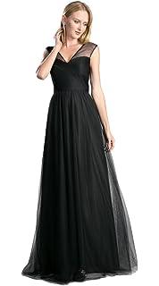 56f56e234f6a3 アールズガウン] チュール ロングドレス 演奏会 ステージ 結婚式 パーティ 大きいサイズ 袖