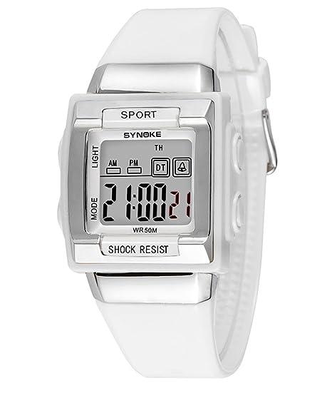 cheamlion Kids blanco impermeable elástica Cronógrafo Reloj digital para las niñas: Amazon.es: Relojes