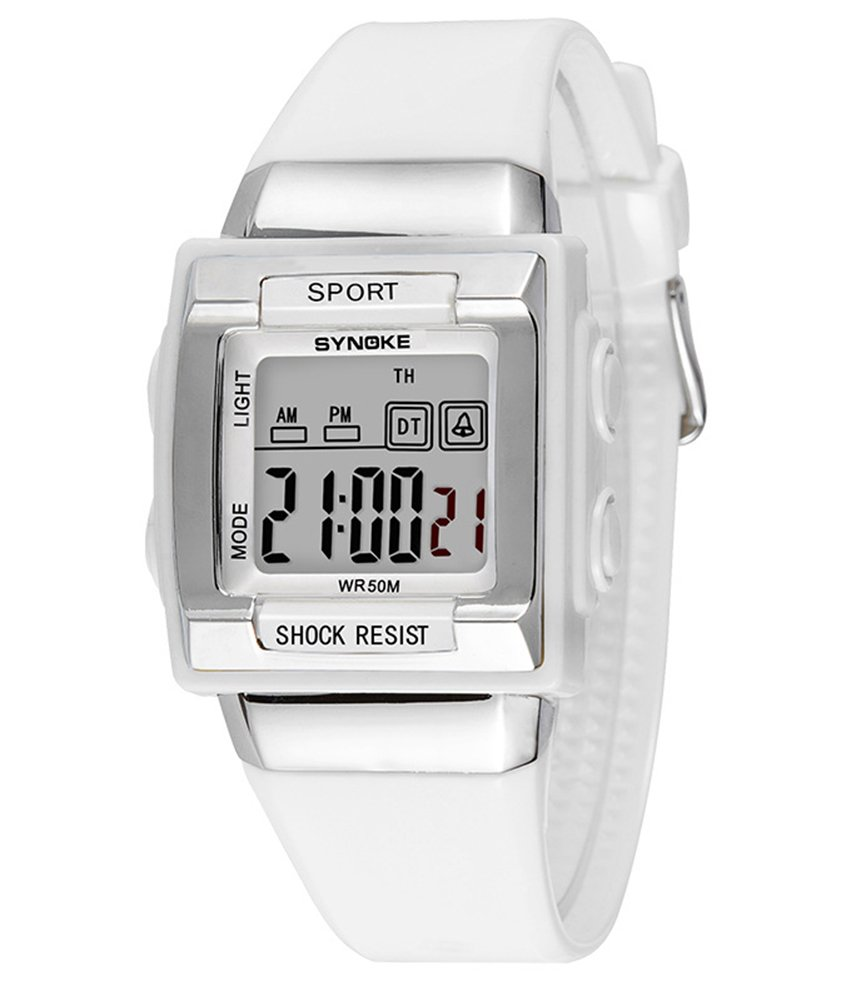 Cheamlion Kids White Waterproof Elastic Chronograph Digital Watch for Girls