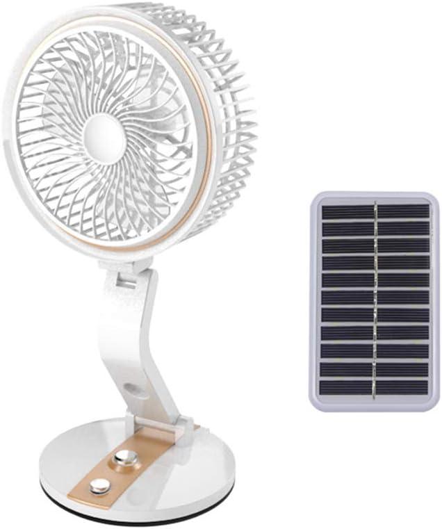 Wzz Ventilador Solar Al Aire Libre Plegable con Luz LED 2 Velocidades Enfriador Ajustable Mini Ventilador Práctico Escritorio Pequeño Ventilador De Refrigeración USB para Niño,Oro