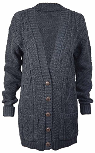 PurpleHanger Women's Long Sleeve Cable Knit Chunky Cardigan Dark Grey 12 Quilt Cardigan