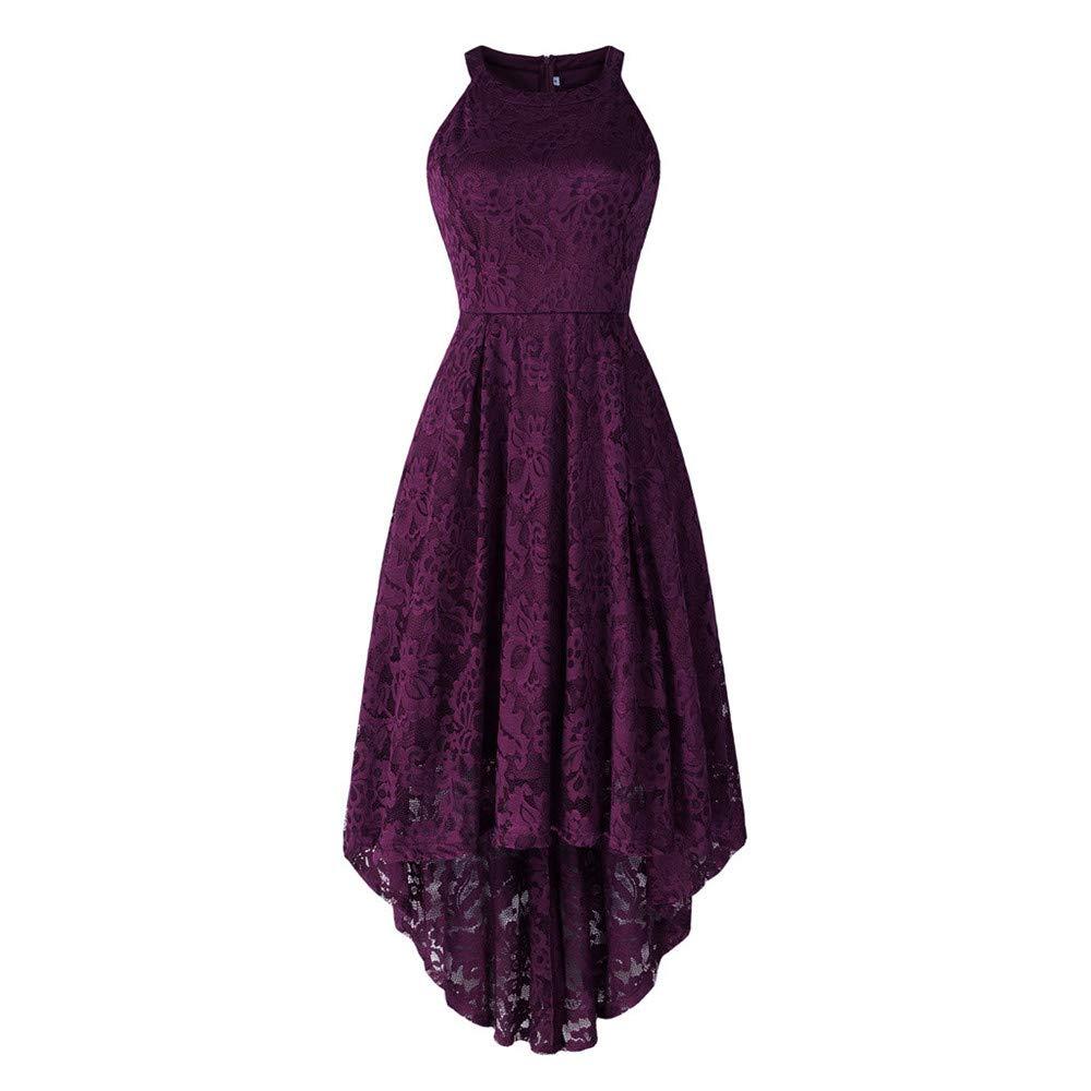 Women's Vintage Floral Lace Sleeveless Hi-Lo Cocktail Formal Swing Dress Purple