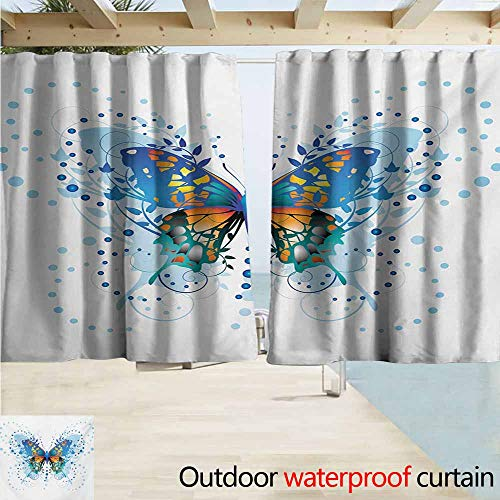 - AndyTours Indoor/Outdoor Top Curtain,Swallowtail Butterfly Stylized Animal with Twigs Curls and Dots Abstract Art,Outdoor Privacy Porch Curtains,W63x63L Inches,Blue Turquoise Orange