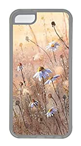 iPhone 5C Case, iPhone 5C Cases - Hand-painted Flowers Polycarbonate Hard Case Back Cover for iPhone 5C¨C Transparent