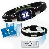 ''See Wallet Card'' ELITE Medical Alert ID Bracelet for Men and Women