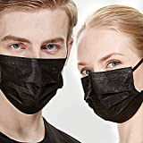 50/100 Black Kids Disposable Face_Masks, Kids Masks Disposable, 3-Ply Non-Woven Soft Breathable Face Safety Masks, Back to Sc
