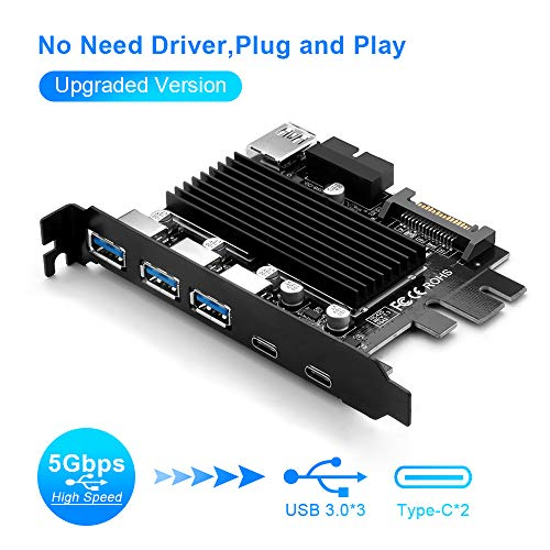 【Upgraded Version】 Superspeed PCI-E to USB 3.0 Expasion Card Type-C PCI Expansion Card USB C Express Card with 15-Pin SATA Power Connector and 19-Pin USB 3.0 Cable for PC No Driver Need Plug and Play