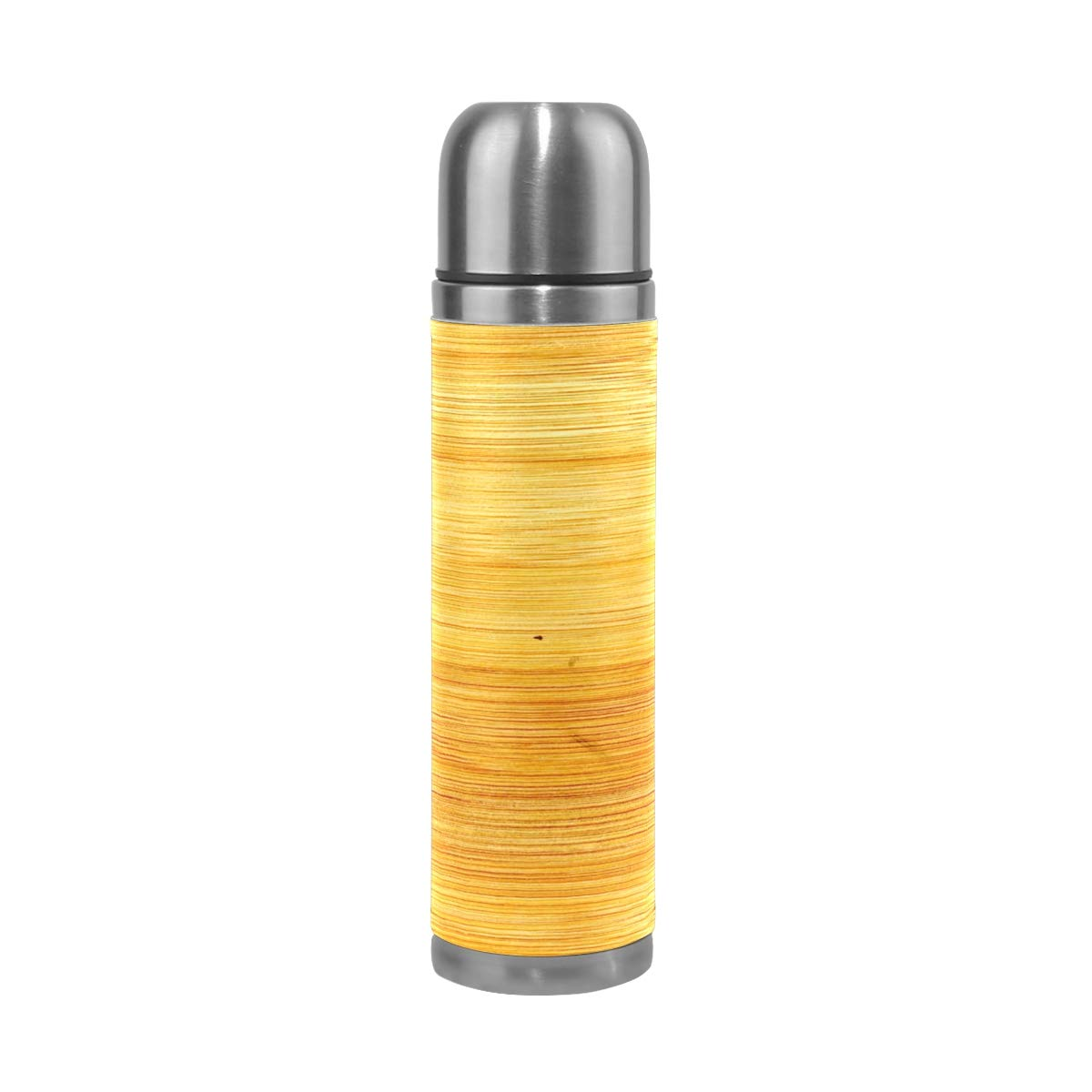 Plant Wood Texture Floor Pattern Yellow 500ML Stainless Steel Double Walled vacuum insulated water bottle Travel Mug Leather Cover Thermos 17 oz