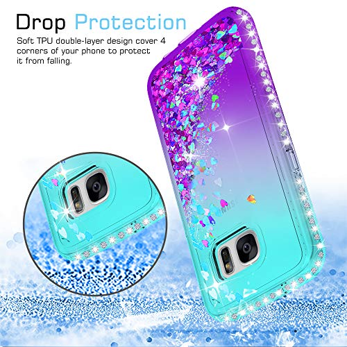 5456e6c8623 Galaxy S7 Glitter Case with Tempered Glass Screen Protector [2 Pack] for Girls  Women, LeYi Bling Sparkle Diamond Liquid TPU Protective Phone Case for ...
