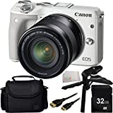 Canon EOS M3 Mirrorless Digital Camera with EF-M 18-55mm f/3.5-5.6 IS STM Lens (White) 32GB Bundle 5PC Accessory Kit. Includes 32GB Memory Card + Pistol Grip/Table Top Tripod + Mini HDMI Cable + Carrying Case + Microfiber Cleaning Cloth - International Version (No Warranty)