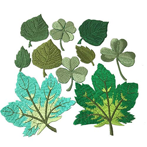 10pcs Assorted Maple leaves Lucky Shamrock Iron on Patches Embroidered Applique motif