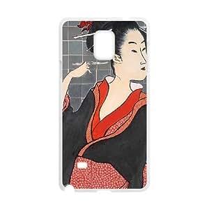 Mixed Media Geisha Samsung Galaxy Note 4 Cell Phone Case White TGH
