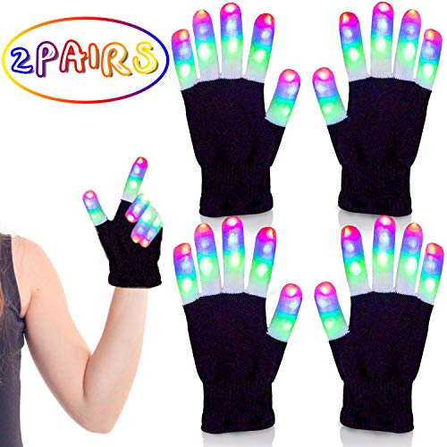 Halloween Edm Parties (ASSENIO 2 Pair Led Gloves Light Up Rave Glow Gloves 3 Colors 6 Modes Flashing Halloween Costume Birthday EDM Party Christ-mas,Toys for Age 12 13 and)