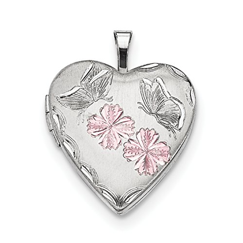 ICE CARATS 925 Sterling Silver Enameled Flowers Butterfly Heart Photo Pendant Charm Locket Chain Necklace That Holds Pictures Fine Jewelry Gift Set For Women (Enameled Locket)