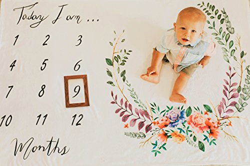 Premium Monthly Baby Milestone Blanket with Wooden Style Frame Included | Soft Plush Fleece Blanket | Large 60x40in Size | Best Newborn Or Baby Shower Gift for Boy Or Girl | Watch Me Grow Blanket