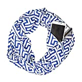 Unisex Infinity Loop Solid Print Stripe Scarf Jaminy Women Winter Convertible Infinity Scarf with Pocket Soft Hidden Zipper Pocket Loop Scarf Infinity Scarf Wrap Shawl Scarf (D Print: Blue)
