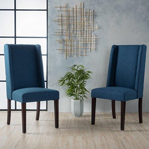 Cline Deep Blue Fabric Dining Chair