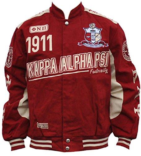 Kappa Alpha Psi Fraternity Mens Racing Twill Jacket 2XL Crimson Red