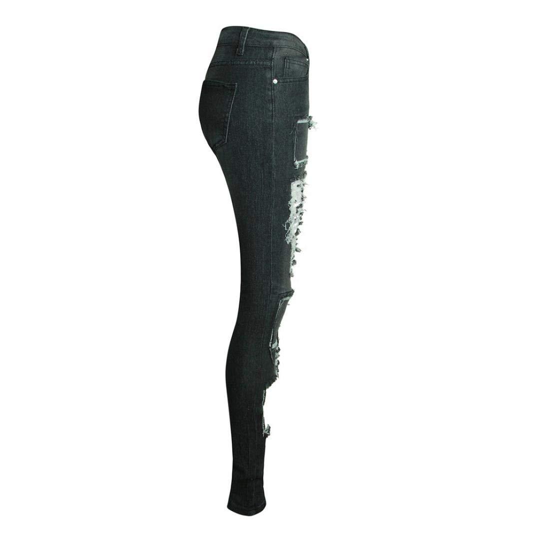 Ladies Pants Womens Casual Ripped Jeans Pants Stretchy Slim Leggings Denim Pants Denim Jeans Stretch Used Look Skinny