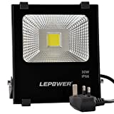 LEPOWER 30W LED Floodlight, Super Bright Outdoor Work Lights, 150W Halogen Bulbs Equivalent, IP66 Waterproof Outdoor Lights, 6500K, 2700lm (Daylight White)