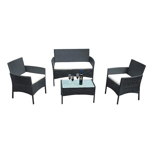 VB - Juego de 4 Muebles de jardín de ratán, 2 sillones, sofá ...