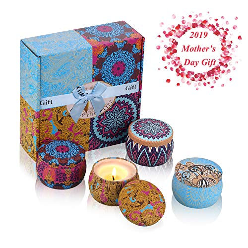 Exqline Scented Candles Gift Set of 4, Natural Aromatherapy Candles Aroma Fragrance Candles 100% Soy Wax Travel Tins Candles Perfect for Anniversary and Stress Relief -