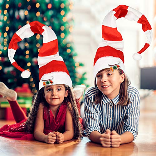 BigOtters Christmas Elf Hat, Extra Long Striped Felt and Plush Santa Christmas Hat with Cute Brooch Pin for Kids Adults Holiday Theme Photos Props Christmas Party Favors