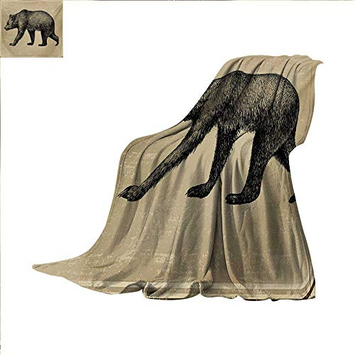 Cabin Digital Printing Blanket Vintage Style Framework with Wild Animal Bear Hand Drawing Carnivore Sketch Art Summer Quilt Comforter 62 x 60 inch Tan and Black