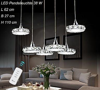 LED Pendelleuchte 6042D 6fl Luxus Design Kristall Klar Edelstahl Chrom 3 Modus