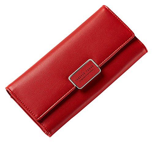 Leather SAIERLONG Womens New Big Purple Case Red Clutch Holder Wallet Purse Pu nqqI56r