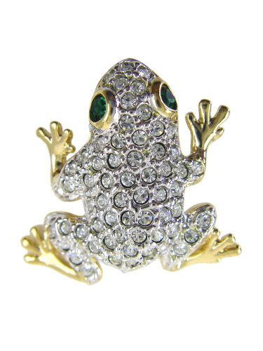 Diamond Frog Pin (CZ Diamond Studded Frog Pin - CZ Crystal Encrusted Frog Lapel Pin)