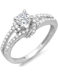 0.55 Carat (Ctw) 14k White Gold Round Diamond Ladies Bridal Semi Mount Ring (No Center Stone)