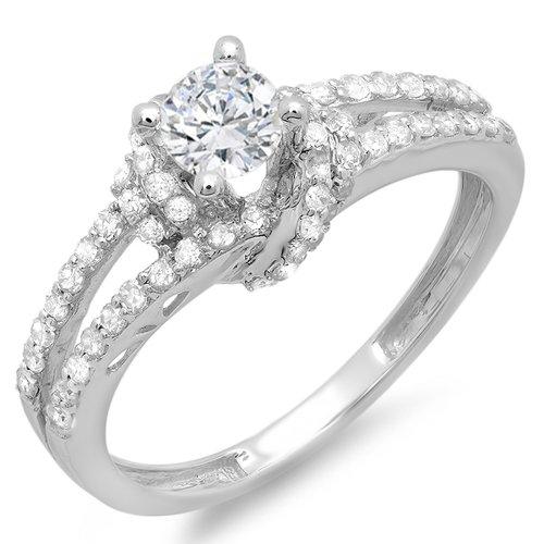 0.55 Carat (Ctw) 14k White Gold Round Diamond Ladies Bridal Semi Mount Ring (No Center Stone) (Size 7.5)