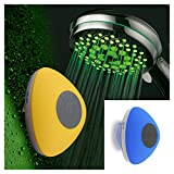 HotelSpa Ultra-Luxury 7-Setting 7 color LED Handheld Shower-Head with Bonus New Slimline Waterproof Bluetooth Shower Speaker available in 5 colors (BLUE) Great Gift Pack for Holidays!