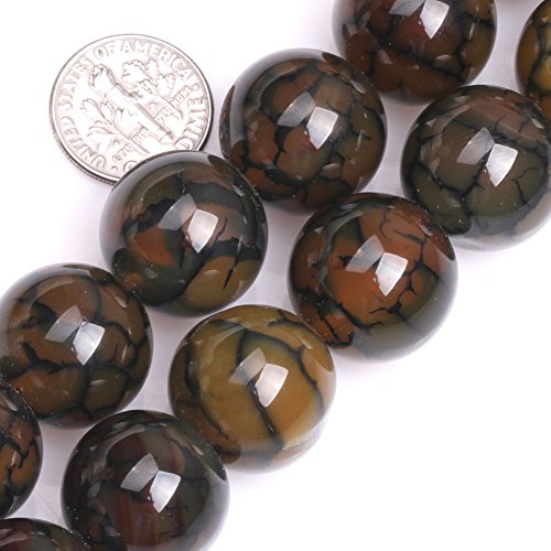 GEM-inside Crackle Agate Gemstone Loose Beads 18mm Round Faceted Yellow Agate Bead for Jewelry Making 15 Inches