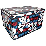 Jumbo Folding Keep Out Kids Room Tidy Toy Storage Box Chest Trunk with Lid