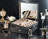 Jewelry Box - 28 Section Jewelry Organizer with Modern Buckle Closure, Large Mirror & 2 Trays -PU Leather