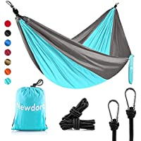 Newdora Camping Hammocks Garden Hammock Ultralight Portable Nylon Parachute Multifunctional Lightweight Hammocks with 2…