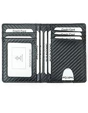 Card Holder for Men, Reayouth RFID Blocking Wallet Slim Wallet Front Pocket Security Travel Credit Card Holder (Carbon Fibre), Holds up to 11 Cards and Bank Notes(Black)