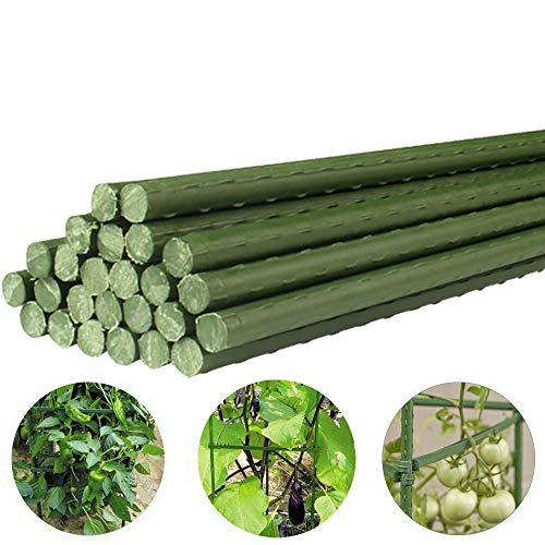 YIDIE Sturdy Metal Garden Stakes 5 Ft Plastic Coated Steel Plant Sticks,Pack of 50