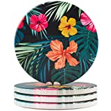 """BRILA Ceramic Coasters with Cork Bottom - Non-Slip Absorbent & Insulated Round Coaster For Cold Drinks Mugs Cups Glasses - 4.1""""(10.5cm) in Diameter SET OF 4"""