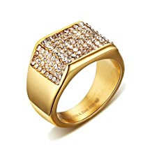 UM Jewelry Stainless Steel CZ Rhinestone Mens Signet Ring Gold Tone Band 11mm
