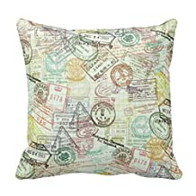 "Passport Stamps Pattern Throw Pillows Case 18X18"" Standard Size Pillow Cover with Zipper"