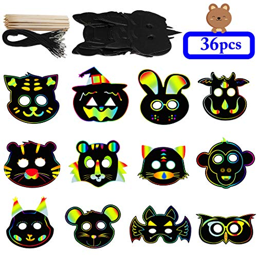 (DIY Masks, Outgeek 36PCS Animal Scratch Paper Masks DIY Magic Scratch Masks for Kids Art Rainbow Scratch Face Paper Dress Up Costume Birthday Party Favors Halloween Cosplay Masks Plus Elastic)