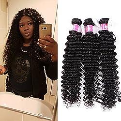 Forawme Women's Deep Wave Brazilian Unprocessed Human Hair Weave Free Tangle 4pcs/Lot 16 18 20 22 Inch #1B Black Affordable Real Hair Bundles