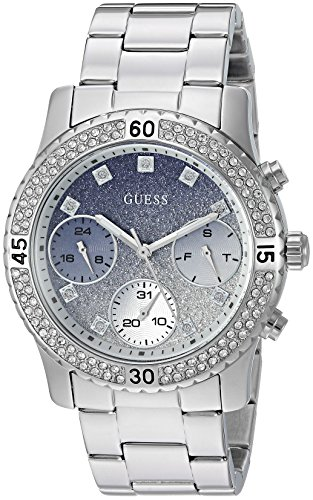 GUESS Women's Stainless Steel Crystal Casual Watch, Color: Silver-Tone (Model: U0774L6)