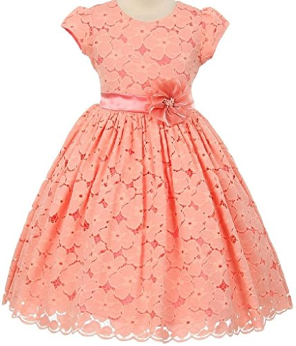 Big Girls' Short Sleeve Cotton Floral Lace Flowers Girls Dresses Coral 12
