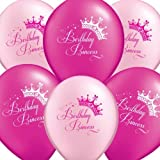 "Uninflated 12"" Birthday Princess Party Balloons Asstd 8 Pack NJB"