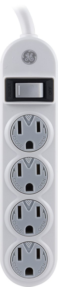 GE 14837 Power Strip, 4 Outlets with Safety Covers and 1.5-Feet Cord, White